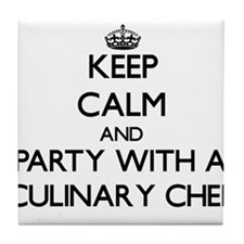 Keep Calm and Party With a Culinary Chef Tile Coas