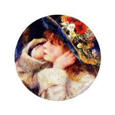 """Renoir - Young Girl in a Hat Decorated 3.5"""" Button"""