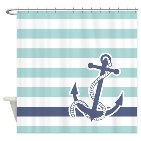 Nautical Anchor Stripe Light Blue Shower Curtain By Pinkinkart2