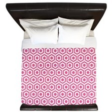 Pink Hexagon Honeycomb King Duvet