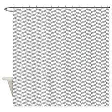 Grey Herringbone Shower Curtain