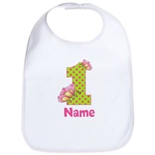 1st Birthday Green Pink Butterfly Bib