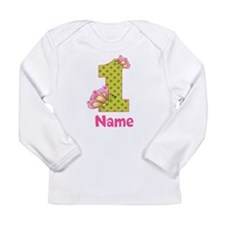 1st Birthday Green Pink Butterfly Long Sleeve T-Sh