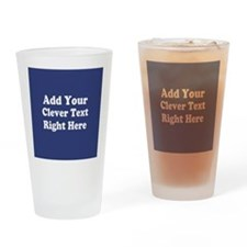 Add Text Background Blue Drinking Glass