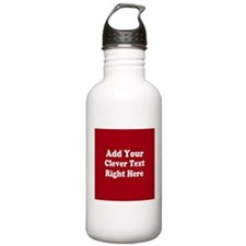 Add Text Background Red White Water Bottle