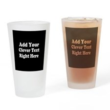 Add Text Background Black White Drinking Glass