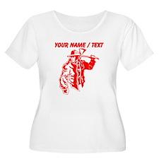 Custom Red Firefighter Plus Size T-Shirt