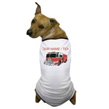Custom Red Fire Truck Dog T-Shirt