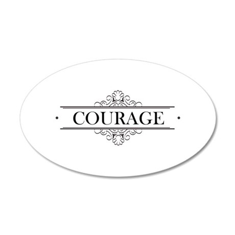 Courage Calligraphy 20x12 Oval Wall Decal