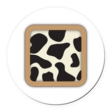 Cow Skin Cow Pattern Round Car Magnet