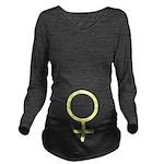 Yellow Female Symbol Long Sleeve Maternity T-Shirt