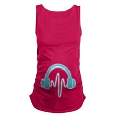 Blue Headphones Maternity Tank Top