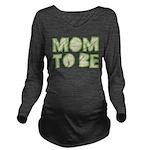 Green Folded Mom To Be Long Sleeve Maternity T-Shi