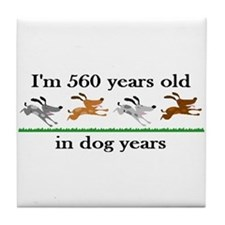 80 dog years birthday 2 Tile Coaster