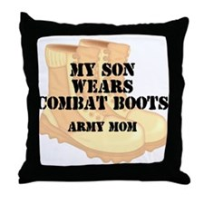 Army Mom Son Desert Combat Boots Throw Pillow