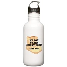 Army Mom Son Desert Combat Boots Water Bottle