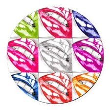 Hot Lips Pop Art Round Car Magnet