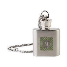 Monogrammed Sage Green Moroccan Trellis Flask Neck