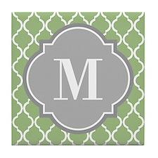 Monogrammed Sage Green Moroccan Trellis Tile Coast
