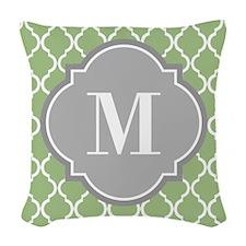 Monogrammed Sage Green Moroccan Trellis Woven Thro