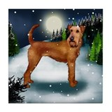 IRISH TERRIER DOG SNOW Tile Coaster