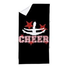 cheer black red Beach Towel