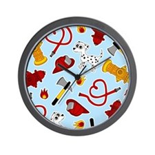 Cute Firefighter Love Print - Blue Wall Clock