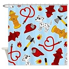 Cute Firefighter Love Print - Blue Shower Curtain