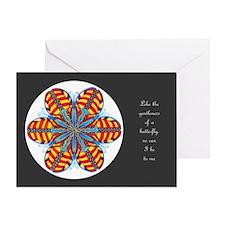 Butterfly Mandala Card - grey w/Msg Greeting Cards
