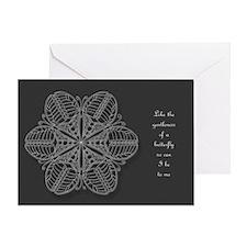 Butterfly Mandala Card - grey w/Msg White Design