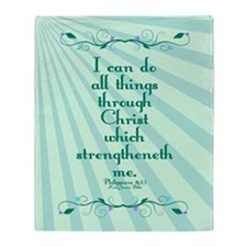 Philippians 4:13 Starburst Throw Blanket