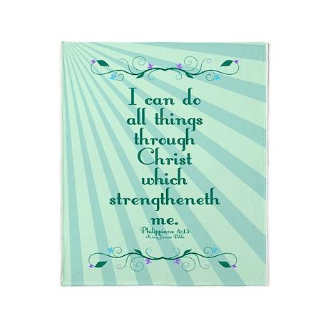 Philippians 4:13 Starburst Throw Blanket