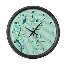 Philippians 4:13 Starburst Large Wall Clock