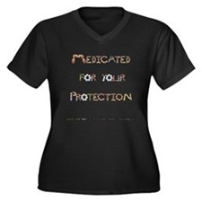 Medicated For Your Protection Plus Size V-Neck Tee
