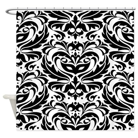 Art bathroom d 233 cor gt black and white masquerade damask shower curtain