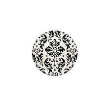 Black and White Modern Damask DESIGN Mini Button
