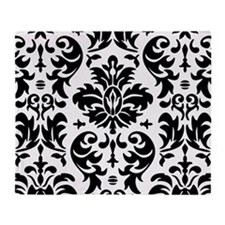 Black and White Modern Damask DESIGN Throw Blanket