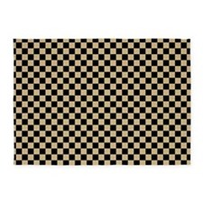 Black and gold Checkered 5'x7'Area Rug