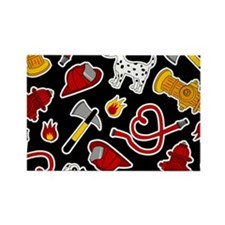 Cute Firefighter Love Print - Black Magnets