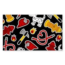 Cute Firefighter Love Print - Black Decal