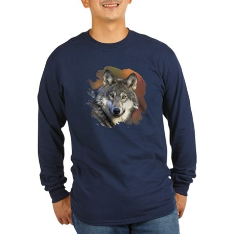 Gray Wolf Long Sleeve Dark T-Shirt