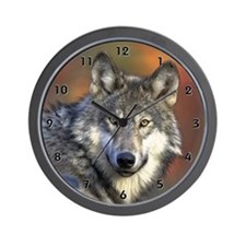 Gray Wolf Wall Clock