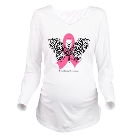 Breast Cancer Tribal Butterfly Long Sleeve Materni