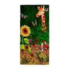Giraffe In Garden Beach Towel