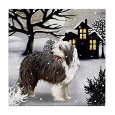 BEARDED COLLIE DOG SNOWY DAY Tile Coaster