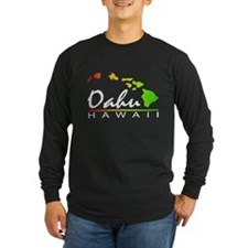 OAHU Hawaii (Distressed Design) Long Sleeve T-Shir
