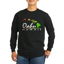 OAHU Hawaii (Distressed Design) Long Sleeve T-Shir