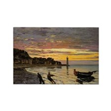 Monet - Hauling a Boat Ashore Rectangle Magnet