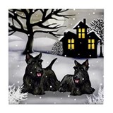 SCOTTISH TERRIER DOGS SNOWY DAY Tile Coaster
