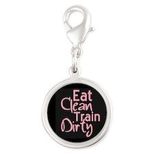 Eat Clean Train Dirty Silver Round Charm